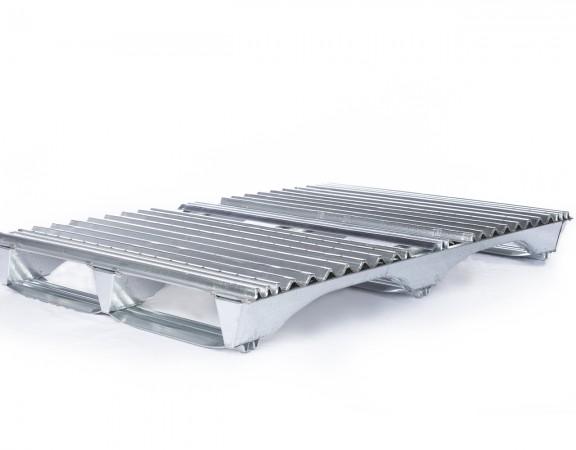 platte en acier galvanisé — galvanized steel pallet — wooden pallet — skid