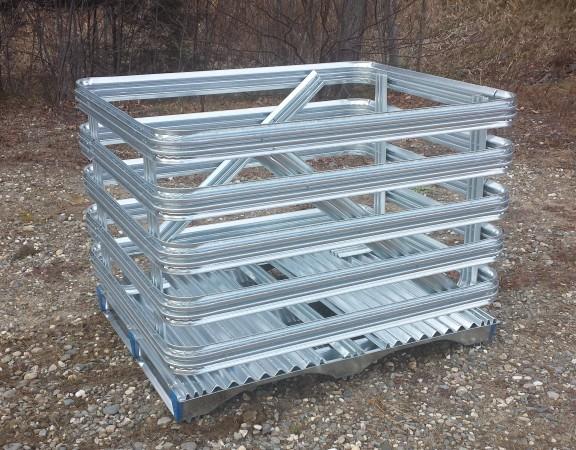 platte en acier galvanisé — galvanized steel pallet — steel crate — tank palette